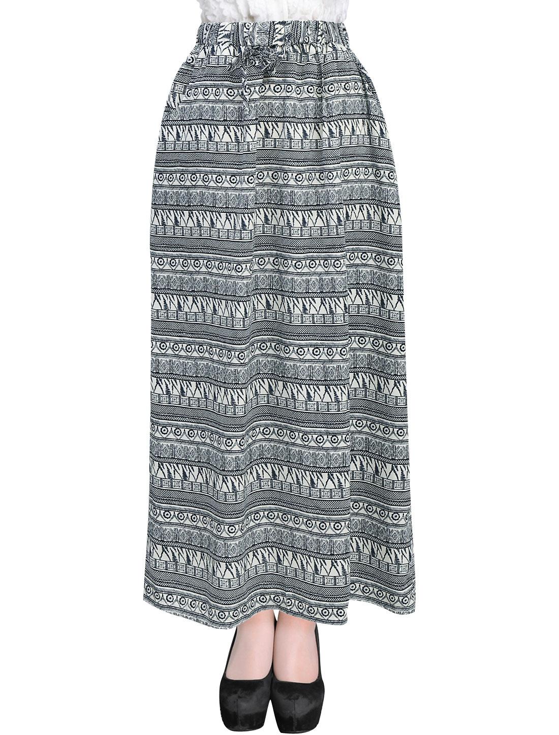Ladies Drawstring Design Novelty Prints Ethnic Style Skirt Beige Navy Blue XS