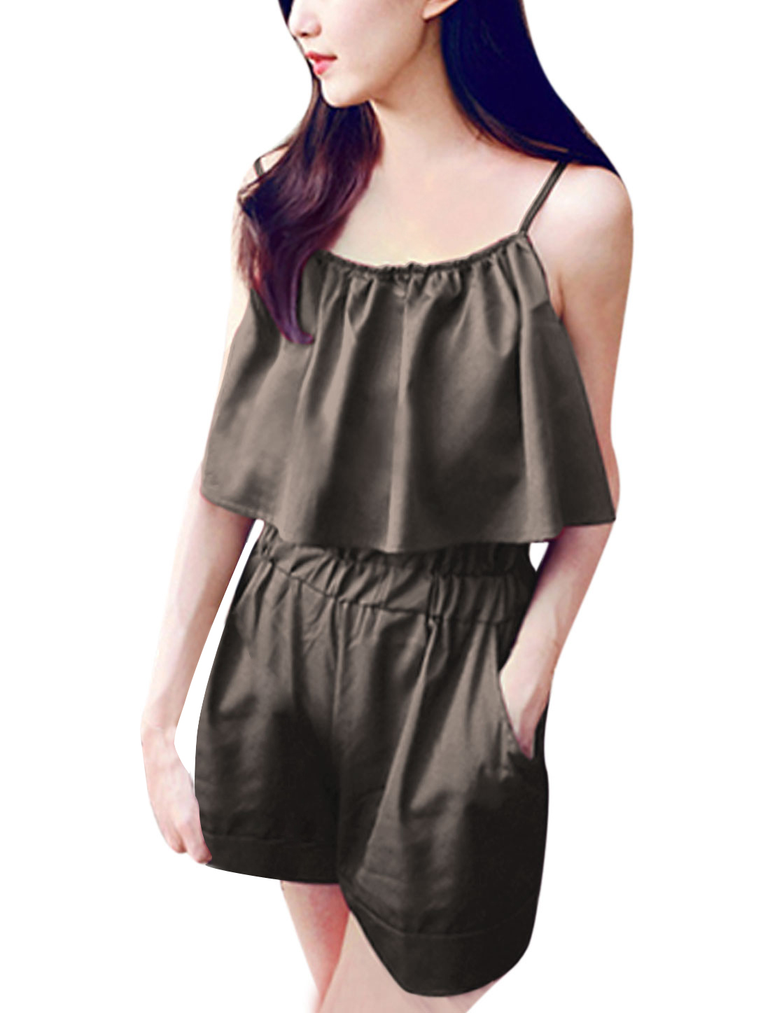 Ladies Sweet Semi Sheer Slant Pockets Ruffled Upper Romper Coffee XS