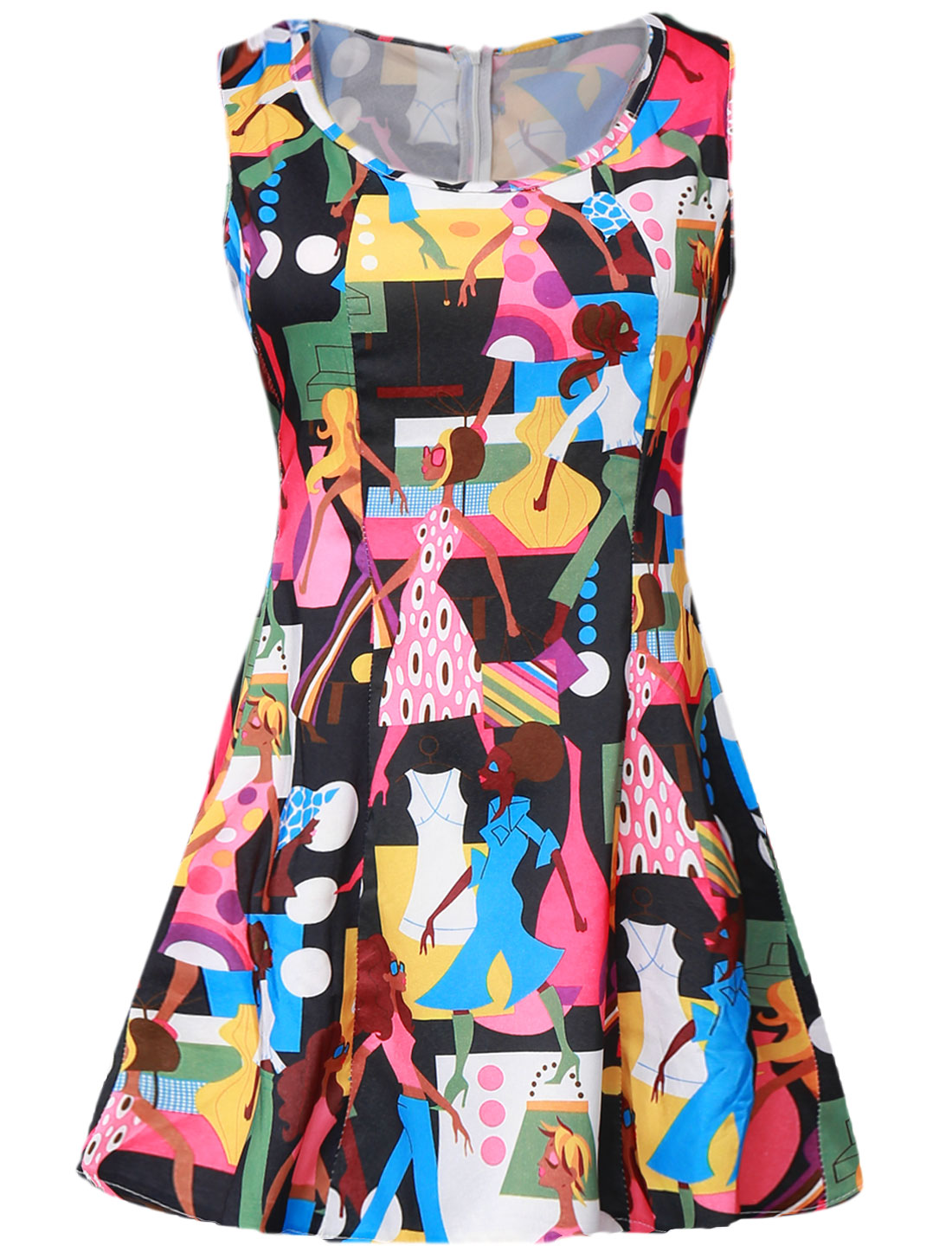 Lady Cartoon Portrait Prints Concealed Zipper Back Skater Dress Black S