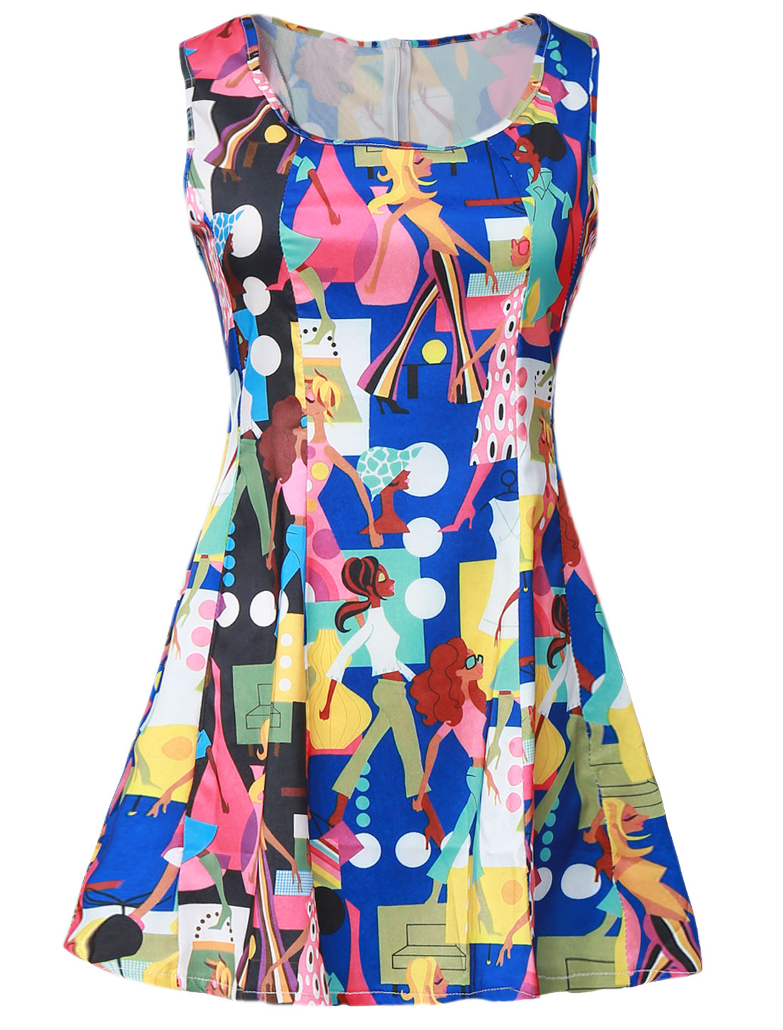 Lady NEW Cartoon Portrait Prints Concealed Zipper Back Skater Dress Royal Blue S
