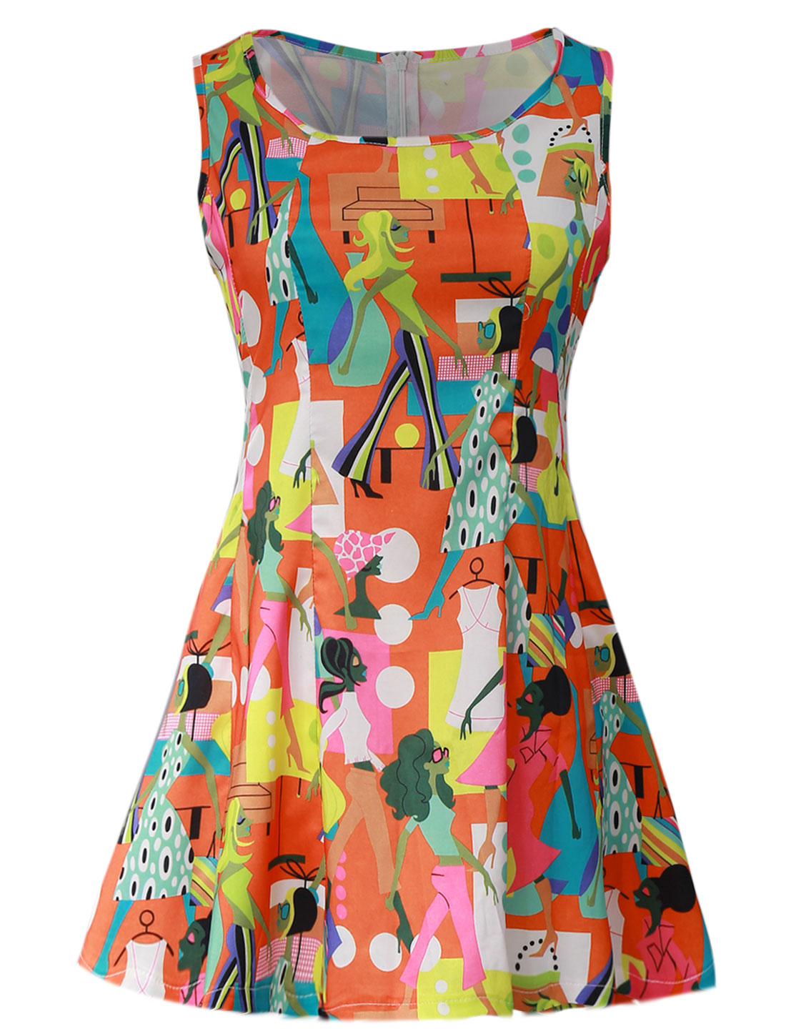 Lady Cartoon Portrait Prints Zip Fly Back Skater Dress Orange S