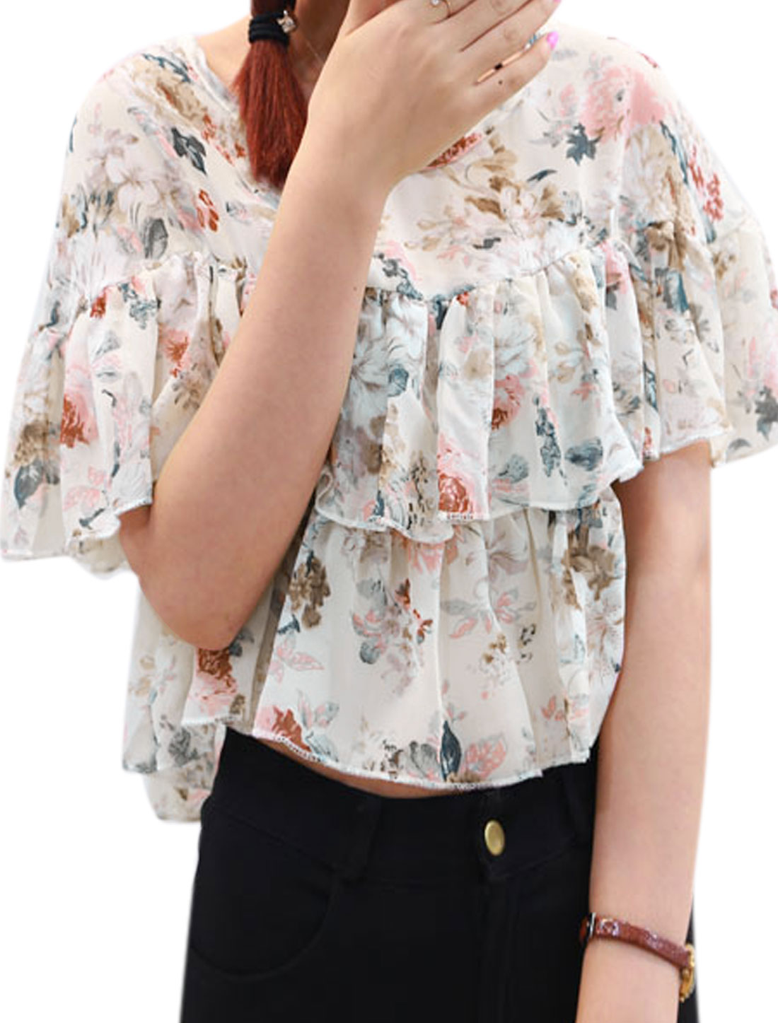Lady 3/4 Trumpet Sleeve Floral Prints Summer Lining Top Beige XS
