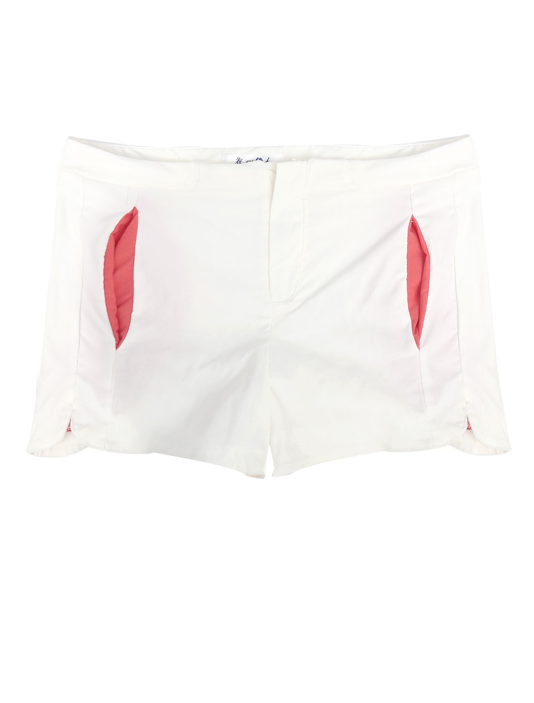 Lady High Waist Zip Fly Split Detail Casual Shorts White M