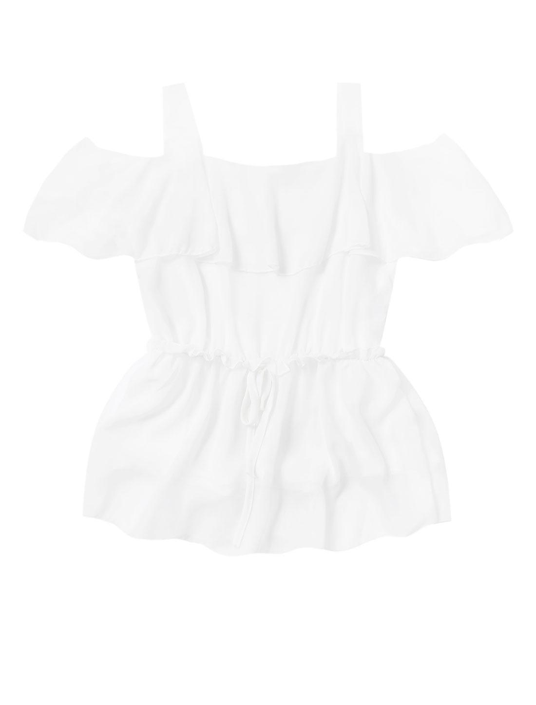 Lady Shoulder Strap Cut Out Shoulder Elastic Drawstring Waist Top White M