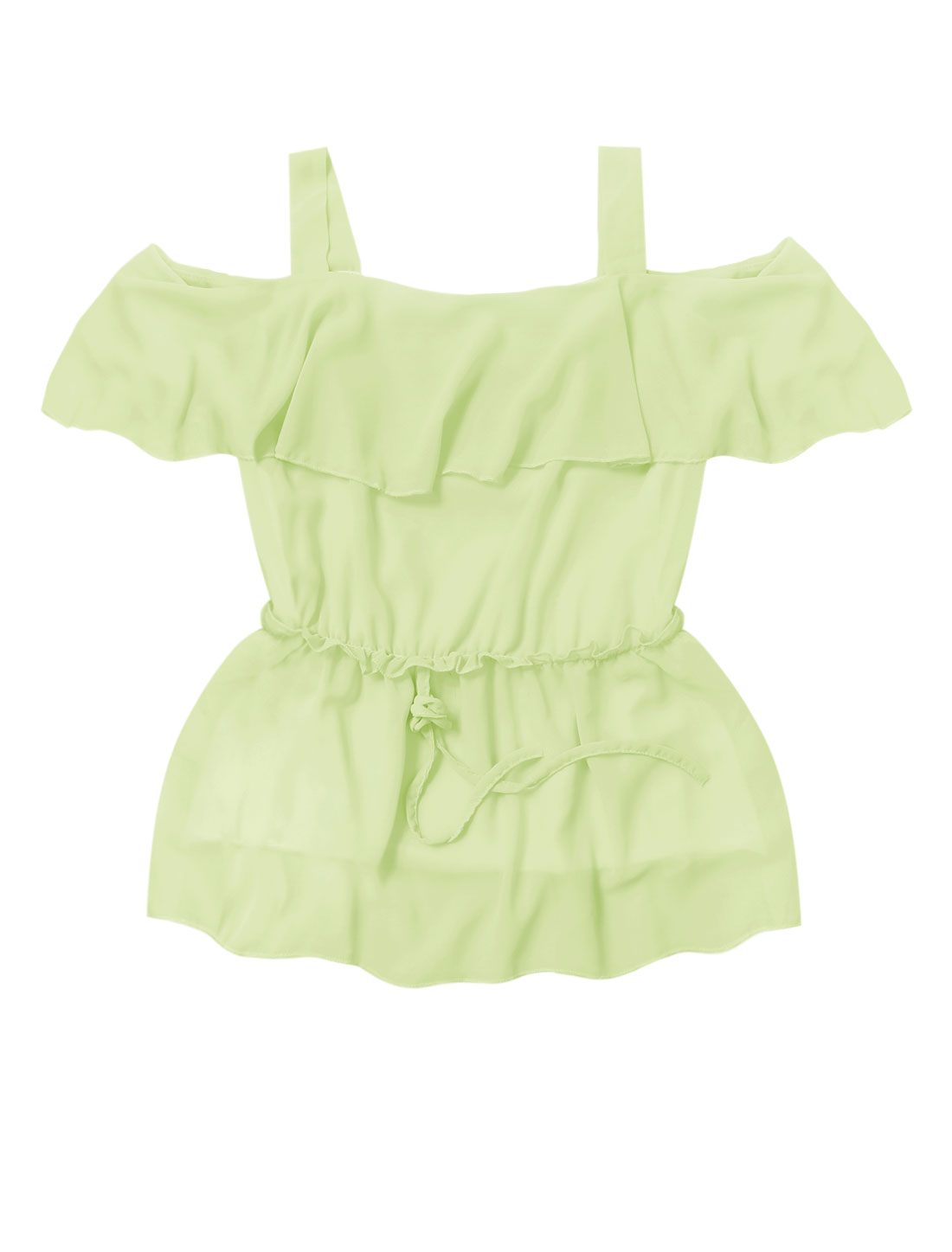 Lady Cut Out Shoulder Elastic Drawstring Waist Top Light Green M
