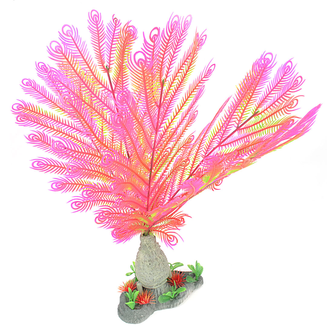 "Fuchsia Peacock Shaped Aquarium Simulation Plant Decor 13"" High"