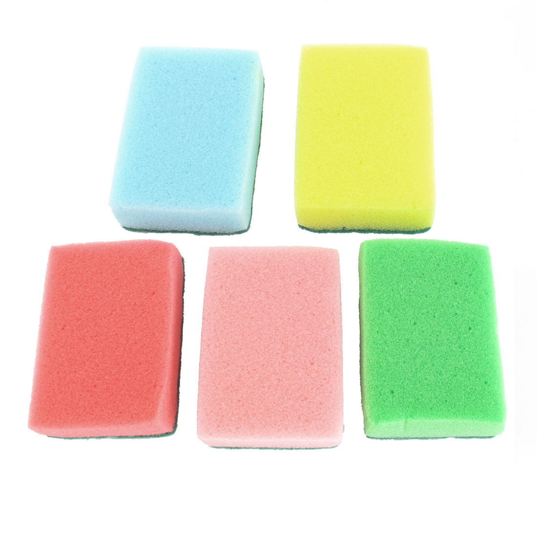 Kitchen Multicolors Rectangle Shape Soft Sponge Dish Pot Cleaner Scrub Pads 5 Pcs