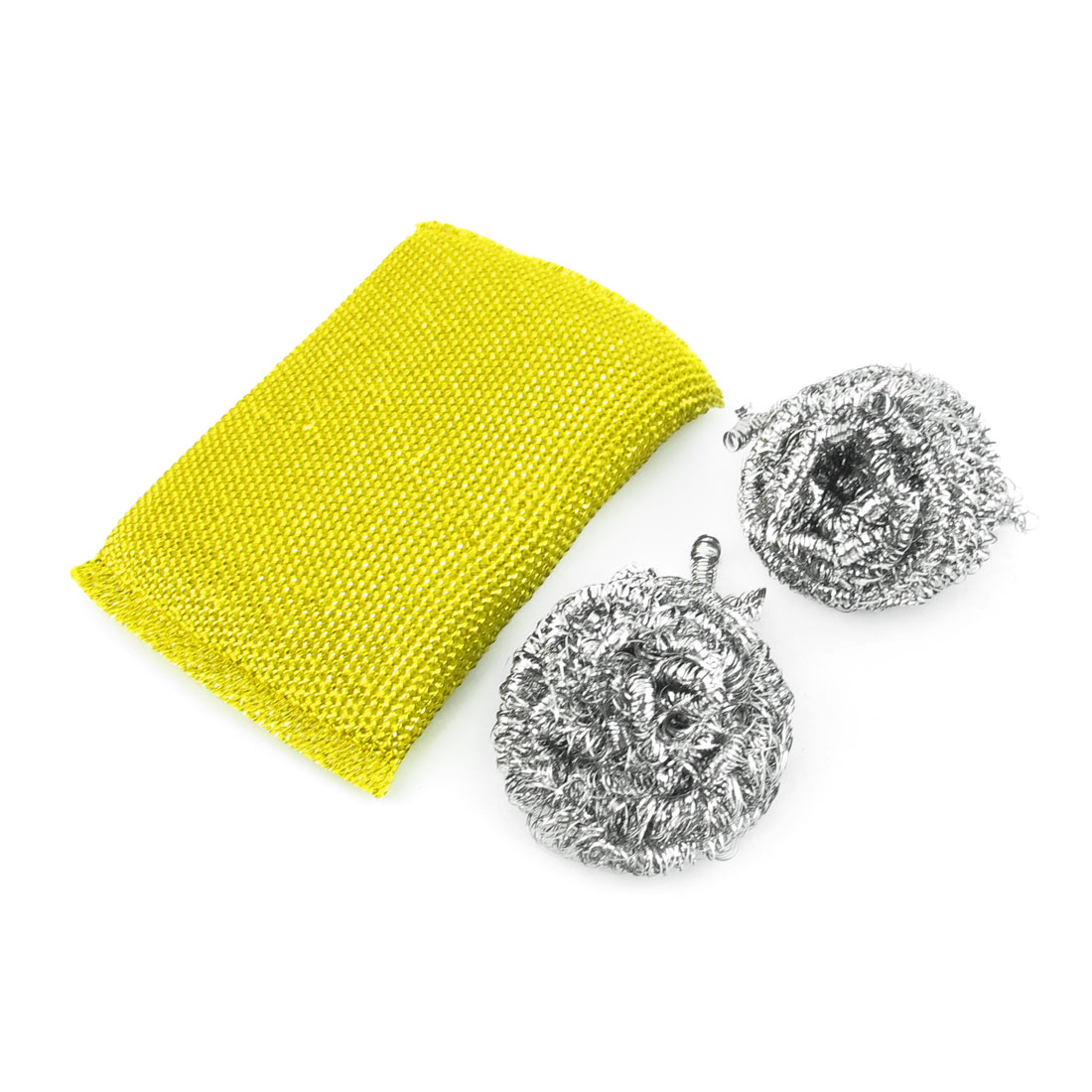 Household Kitchenware Stainless Steel Scrubber Sponge Pad Cleaning Tool Set 3 in 1