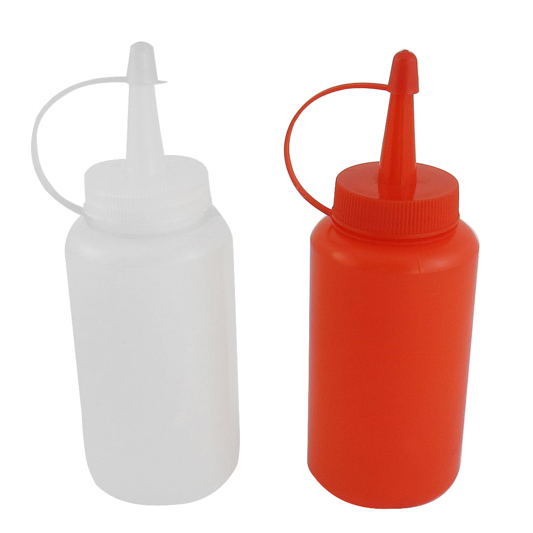 2 Pcs Red White Plastic Squeeze Sauce Salad Ketchup Oil Jam Capped Empty Bottle Dispenser Storage Container 170ml