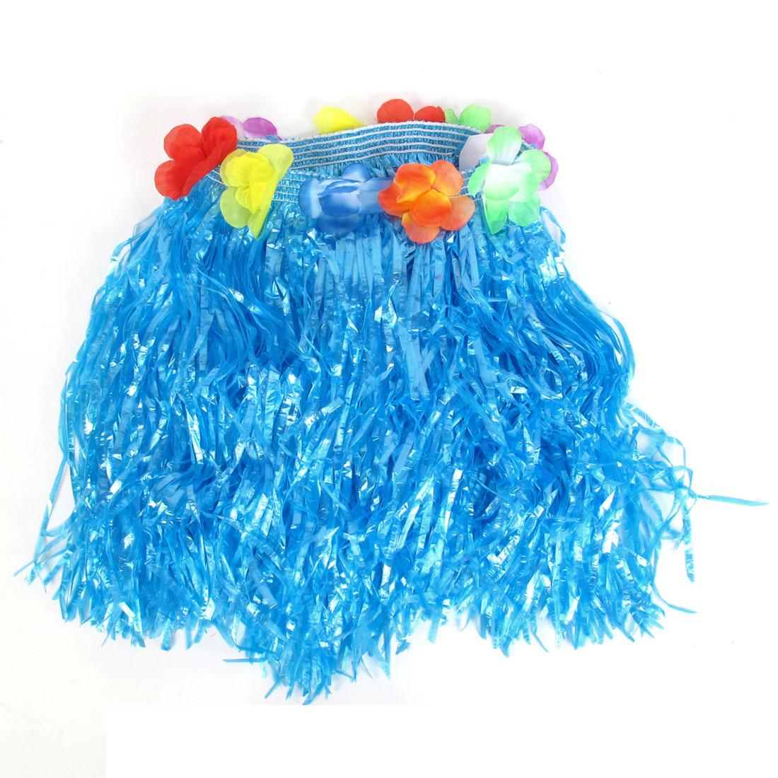 Festival Halloween Flowers Decor Hawaiian Hula Grass Skirt Blue for Lady XS