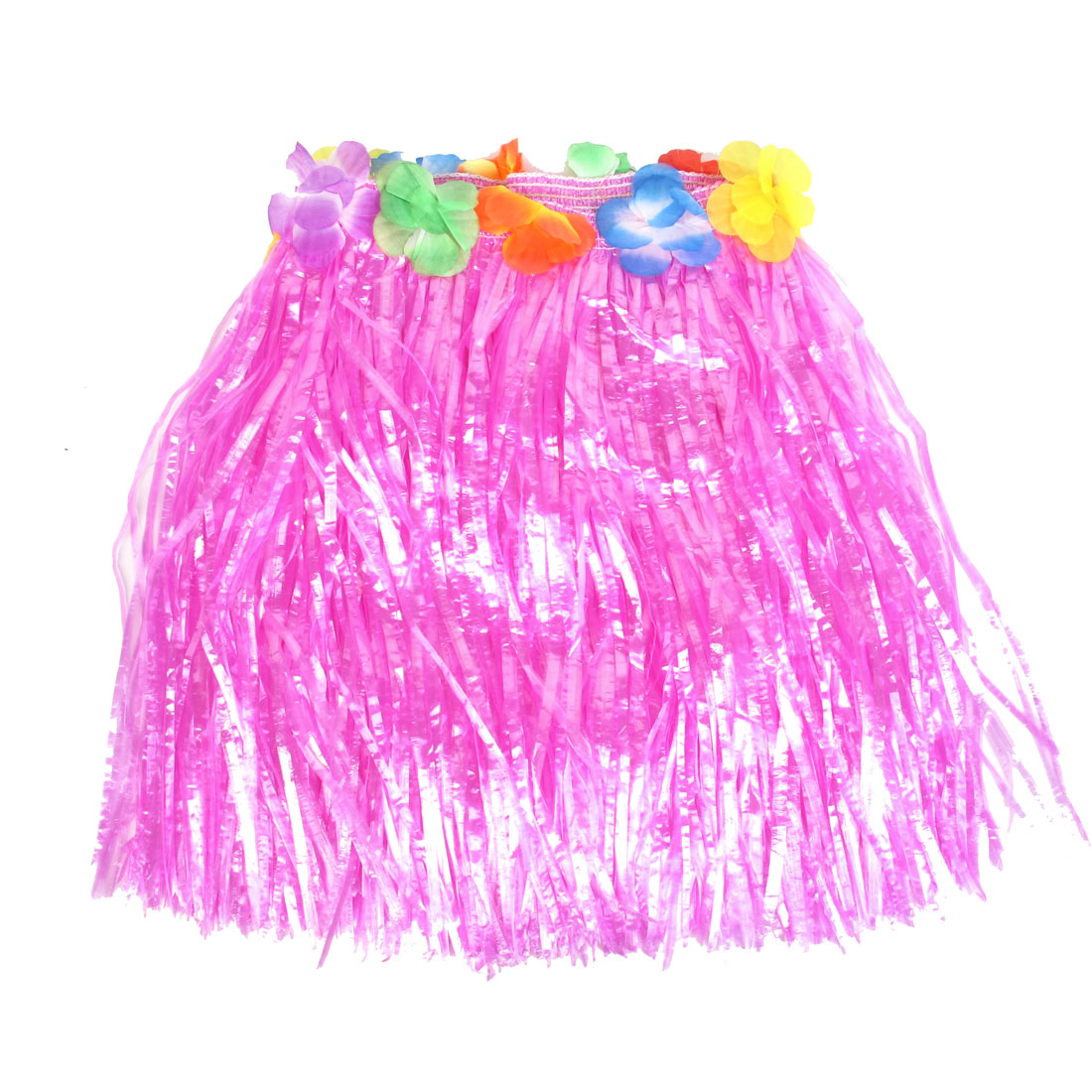 Festival Halloween Flowers Decor Hawaiian Hula Grass Skirt Fuchsia XS(US.0) for Lady
