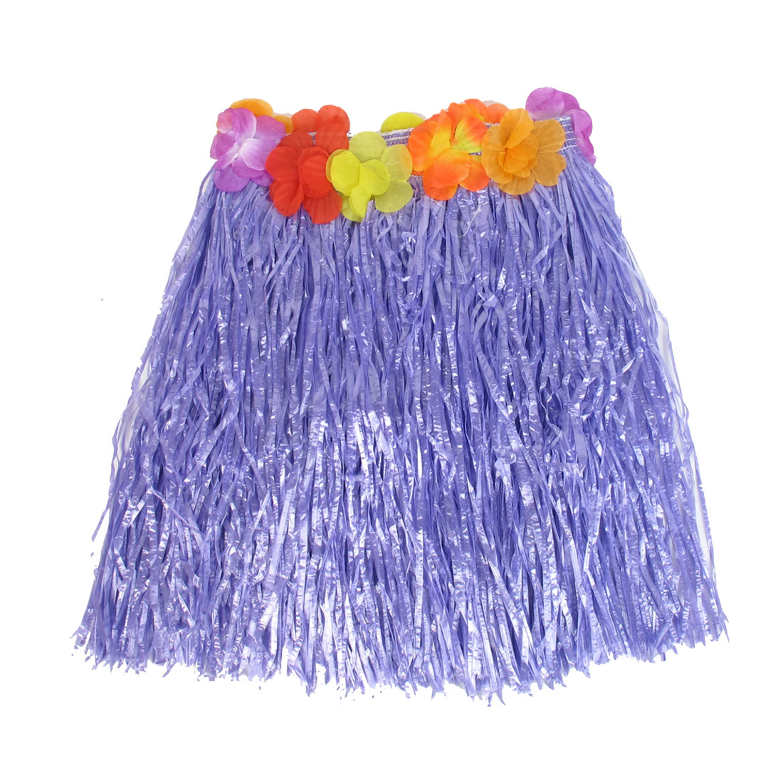 Festival Halloween Flowers Decor Hawaiian Hula Grass Skirt Purple XS(US.0) for Lady