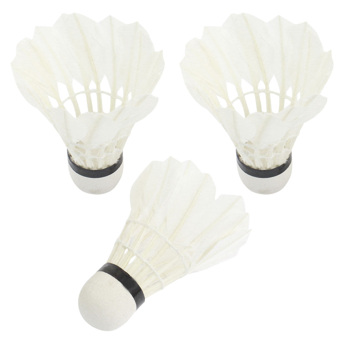 Outdoor Sports Gym Athletic Training White Goose Feather Foam Bottom Shuttlecocks Badminton 3 Pcs