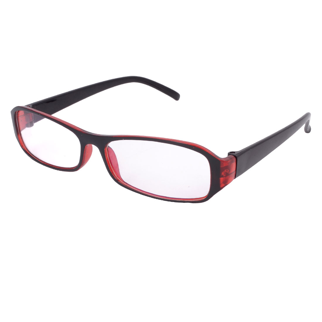 Burgundy Plastic Slim Temples Single Bridge Rectangular Clear Lens Plain Glasses for Lady