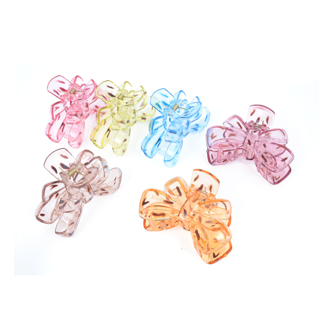 6 Pcs Bowknot Shaped Adornment 8 Teeth Colorful Barrette Hair Claw Clamp Hairclip for Women