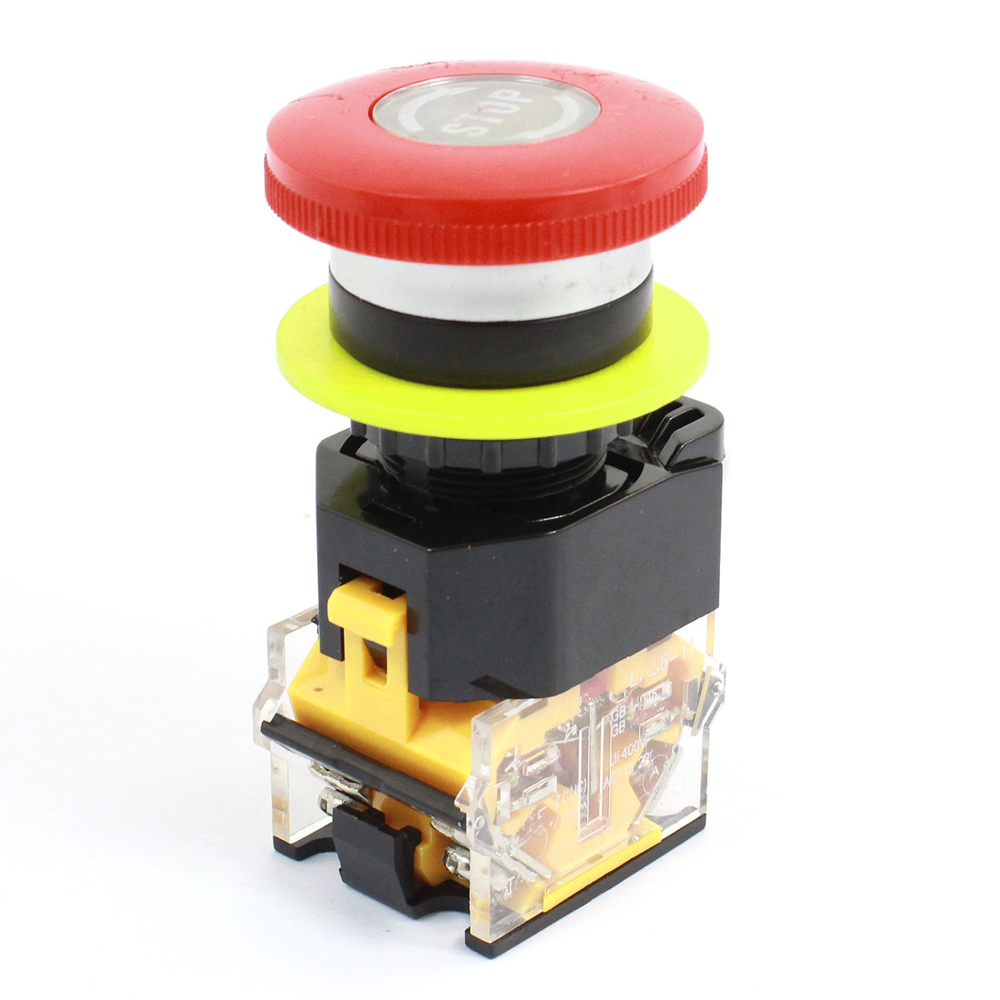 AC 400V 10A 1NO 1NC DPST 22mm Panel Cutout Dia Red Mushroomhead Momentary Emergency Selector Locking Pushbutton Switch