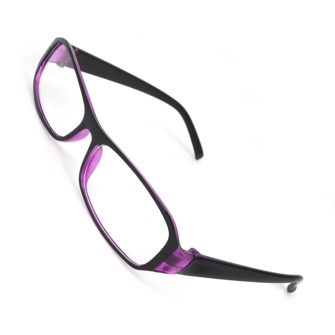 Lady Purple Plastic Single Bridge Clear Lens Plano Glasses Spectacles