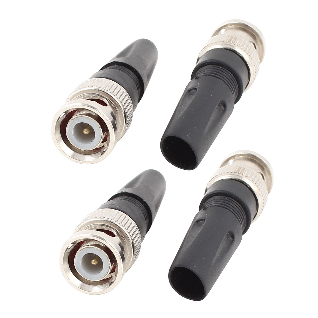Black PU Sleeve Strain Relief Solderless Straight BNC Male Plug Connector Adapter 4 Pcs