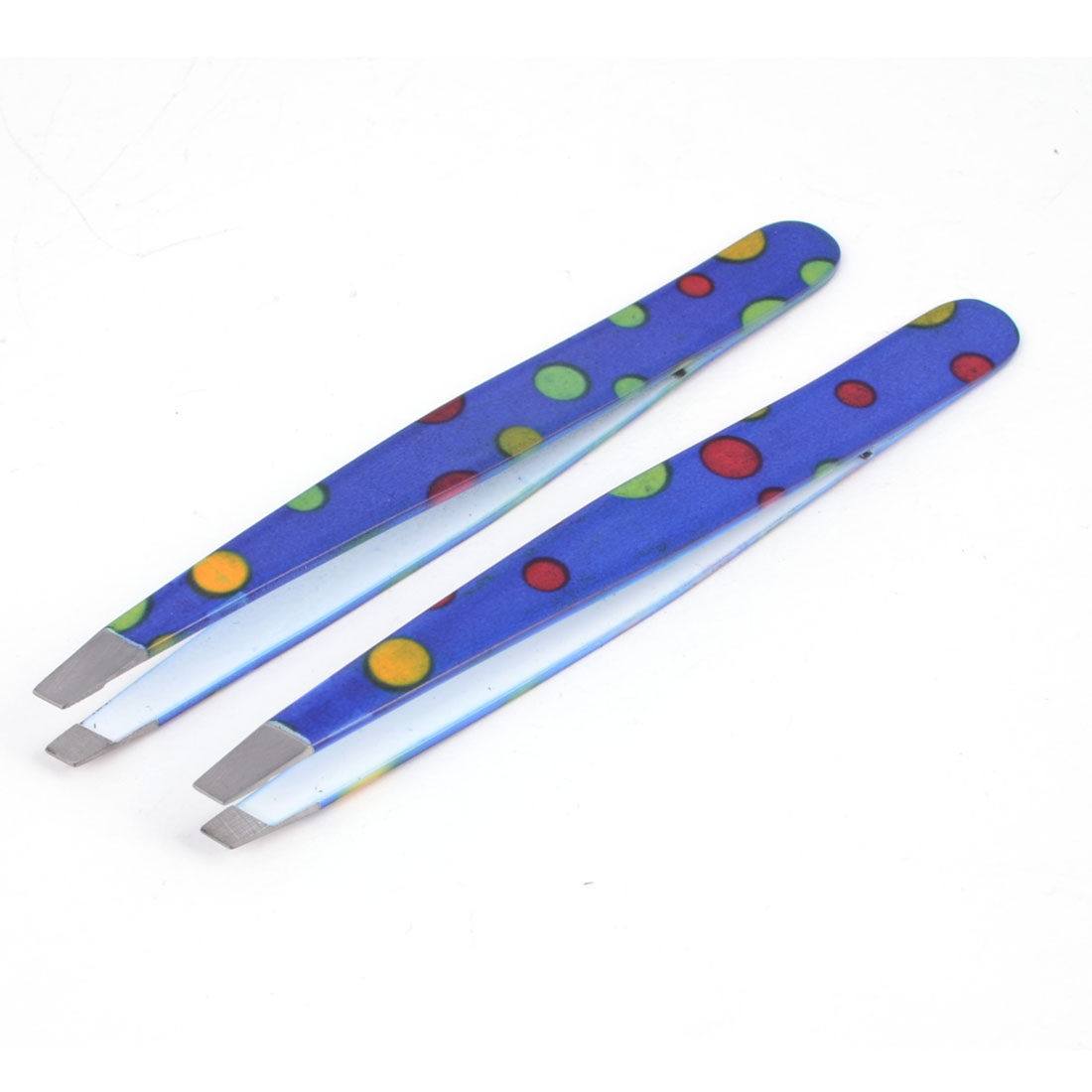 Lady Blue Metal Slanted Edge Dot Print Brows Trimmer Eyebrow Tweezer 2 Pcs