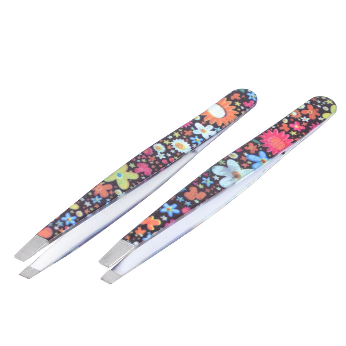 Lady Cosmetic Tool Colorful Flowers Pattern Slanted Tip Eyebrow Tweezer 2 Pcs