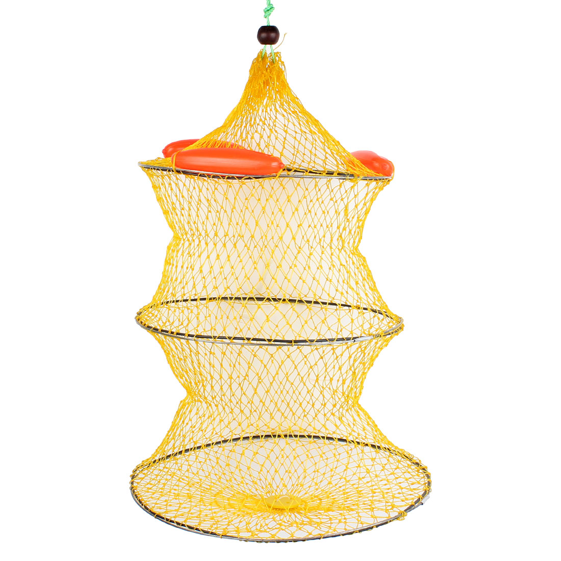 60cm High 2 Sections Collapsible Meshy Fish Cage Fishing Bait Crawfish Shrimp Keep Net Yellow