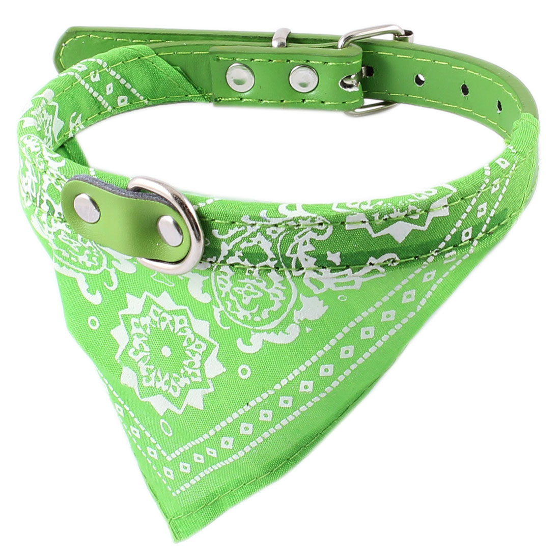 Green Single Prong Buckle Adjustable Faux Leather Belt Pet Cat Dog Bandana Collar Neckerchief Neck Scarf Triangular Binder