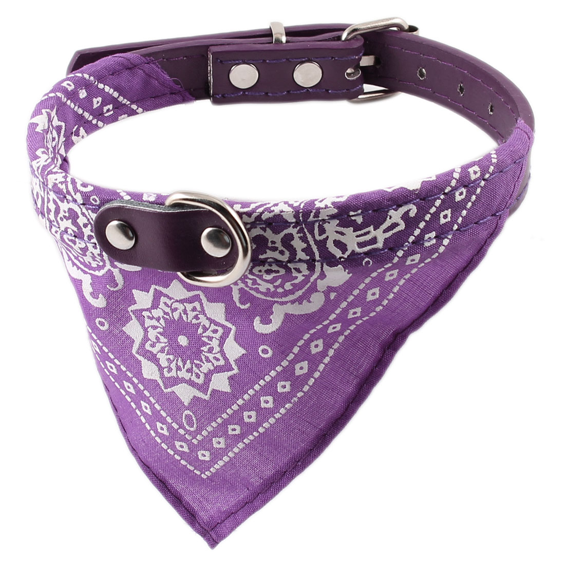 Purple Single Prong Buckle Adjustable Faux Leather Belt Pet Cat Dog Bandana Collar Neckerchief Neck Scarf Triangular Binder