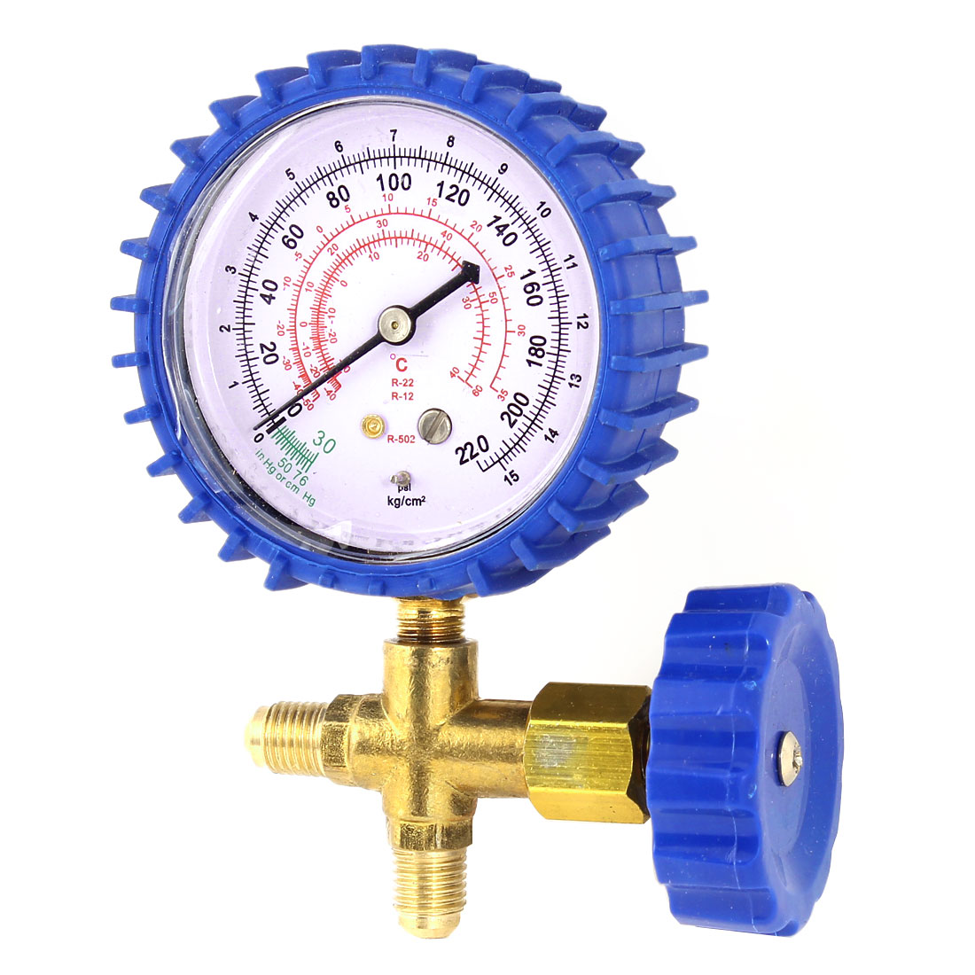 Air Conditioner Part 3-Way Valve 1/4NPT Thread Single Manifold Gauge 0-220psi