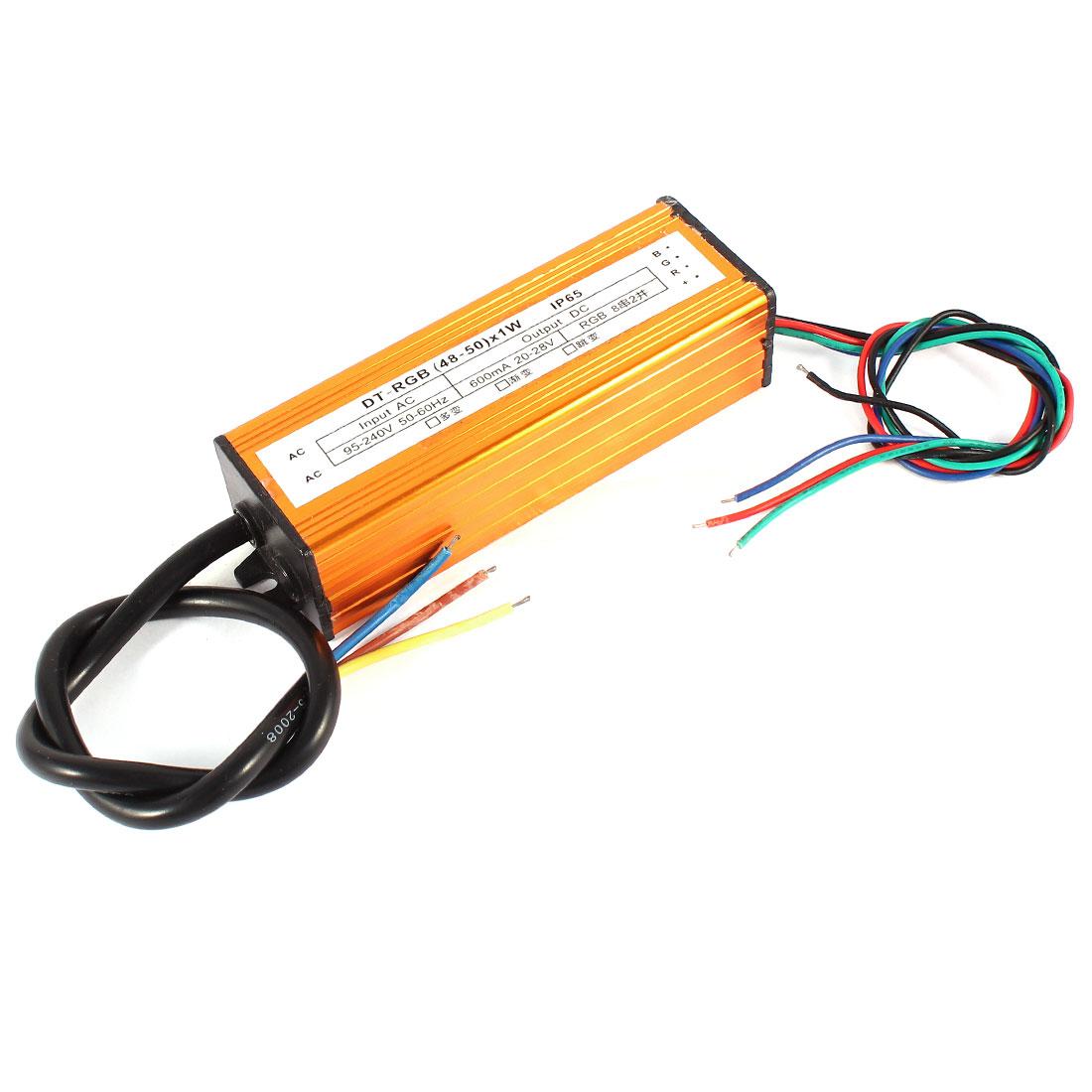 (48-50)x1W Waterproof LED Driver Transformer Power Supply for RGB Light Strip