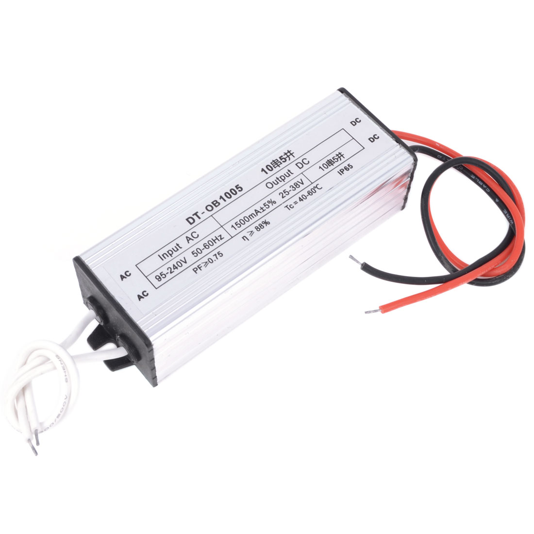 DC 25-38V 50W Waterproof LED Driver Transformer Power Supply Silver Tone
