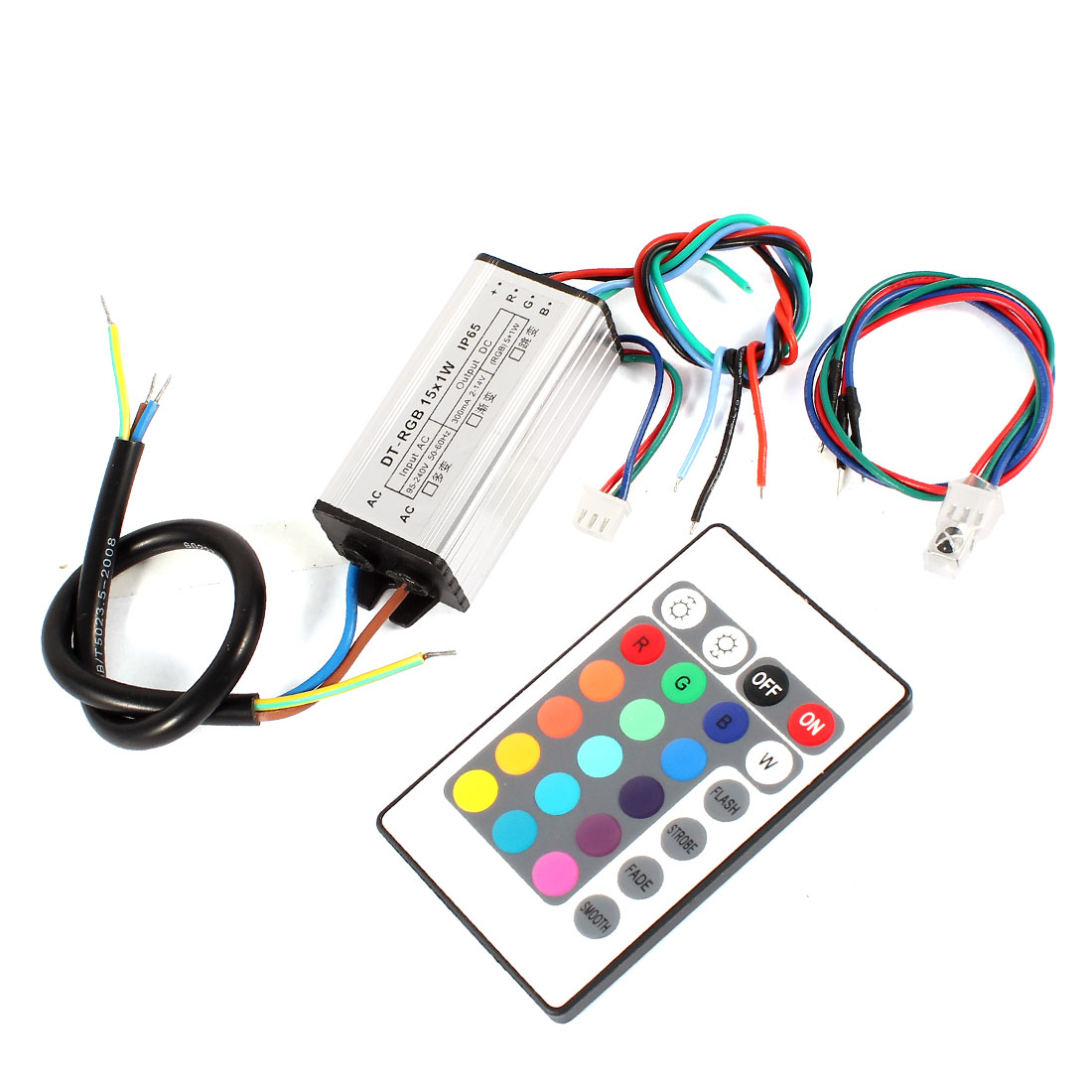 RGB Remote Controller LED Driver Power Supply Adapter 15x1W for Strips