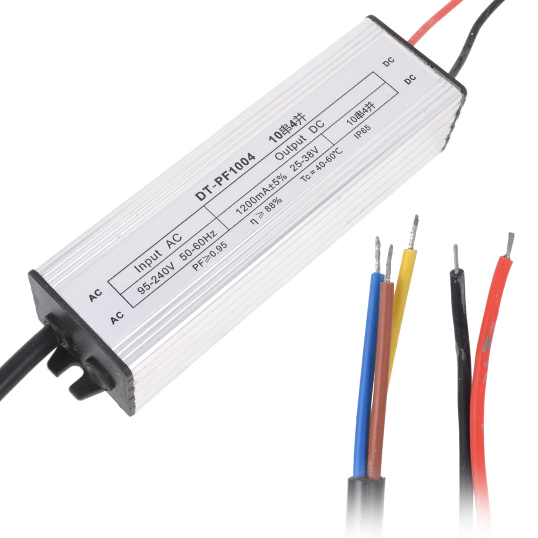 AC 95-240V to DC 25-38V Waterproof LED Driver Transformer Adapter 40W