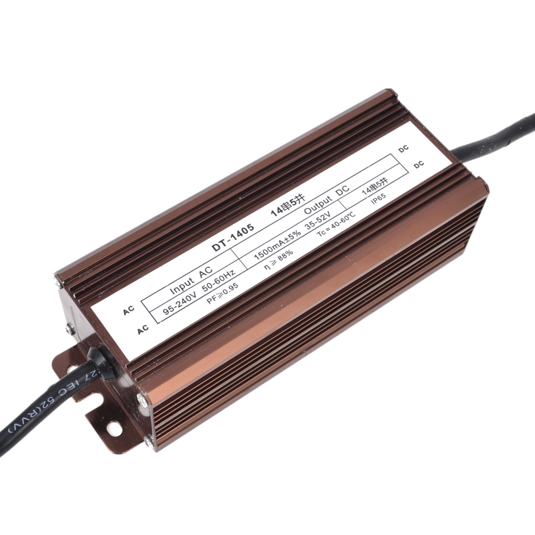 AC 95-240V to DC 35-52V Waterproof LED Driver Transformer Adapter 70W