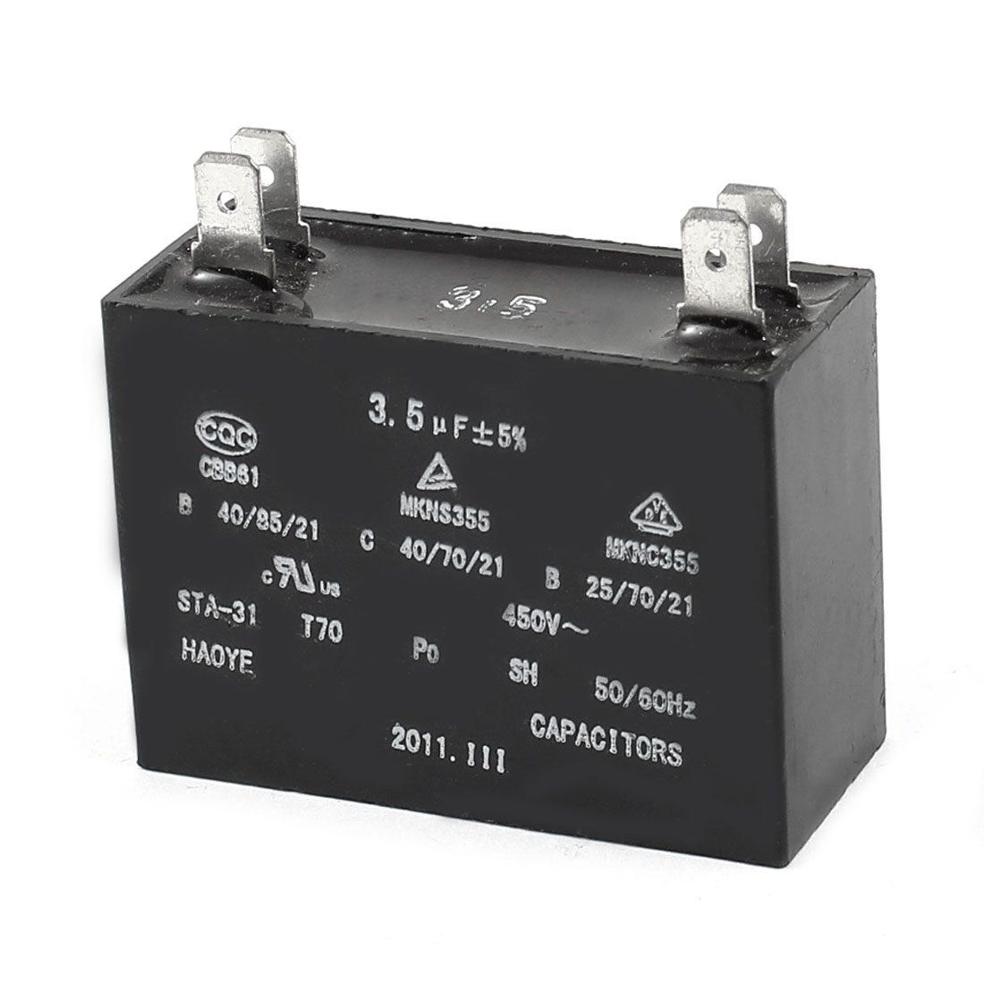 3.5uF 450VAC 50/60Hz 4 Pin Motor Running Capacitor CBB61 for Air Condition