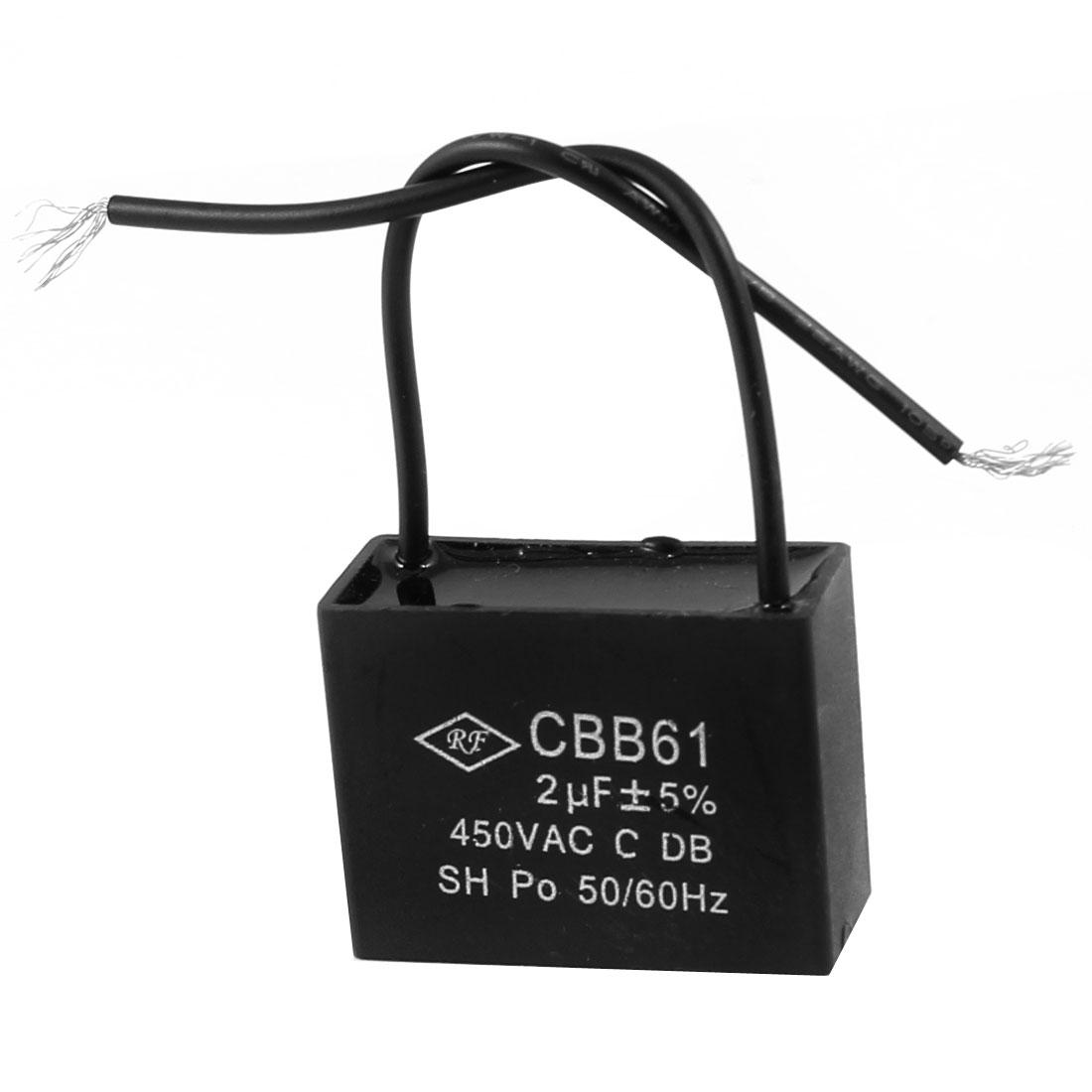 2uF 450VAC 50/60Hz 2 Wire Motor Running Capacitor CBB61