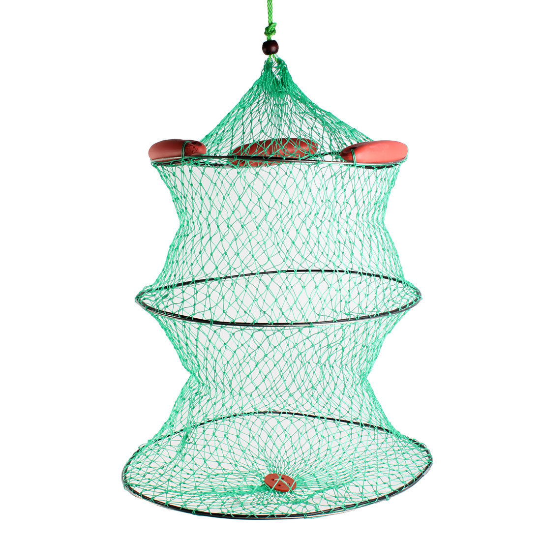 "27.5"" High 2 Sections Collapsible Fishing Keep Net Cage Green"