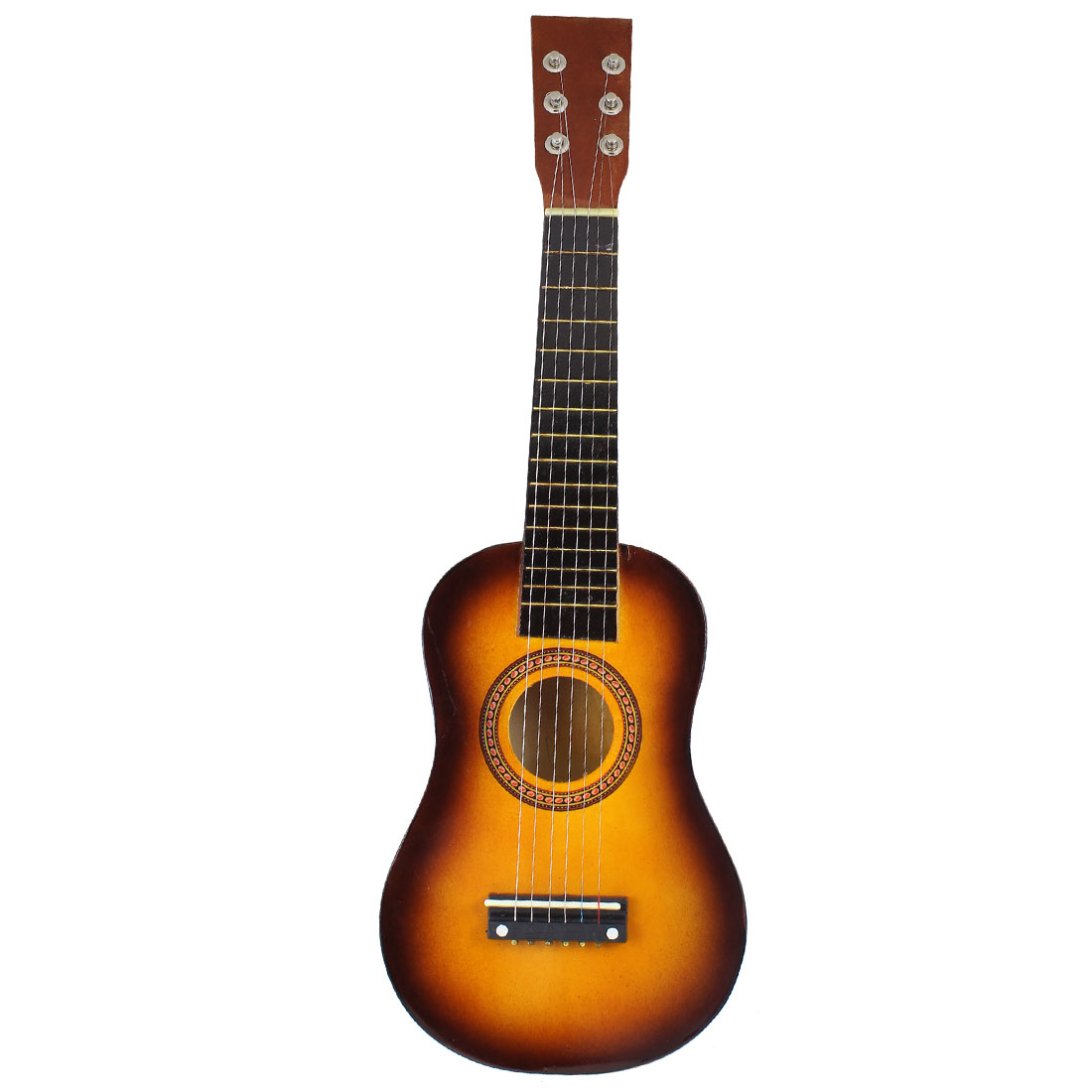"Brown Black 6 Strings Wooden Acoustic Ukulele Guitar 22.8"" Length"