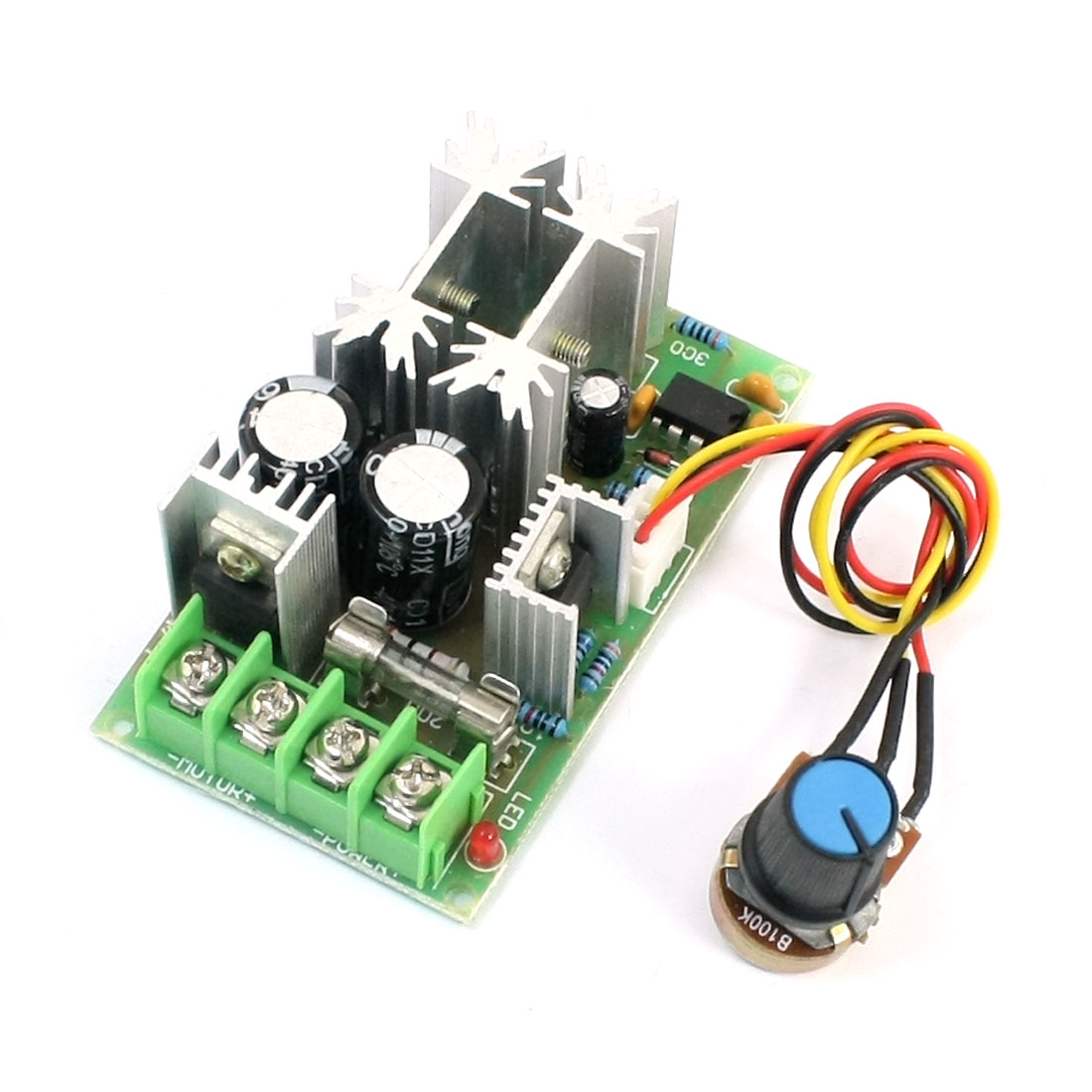 DC10-60V 20A Rotary Potentiometer Adjustable Pulse Width Modulation PWM Motor Speed Controller Switch Module 8.3""