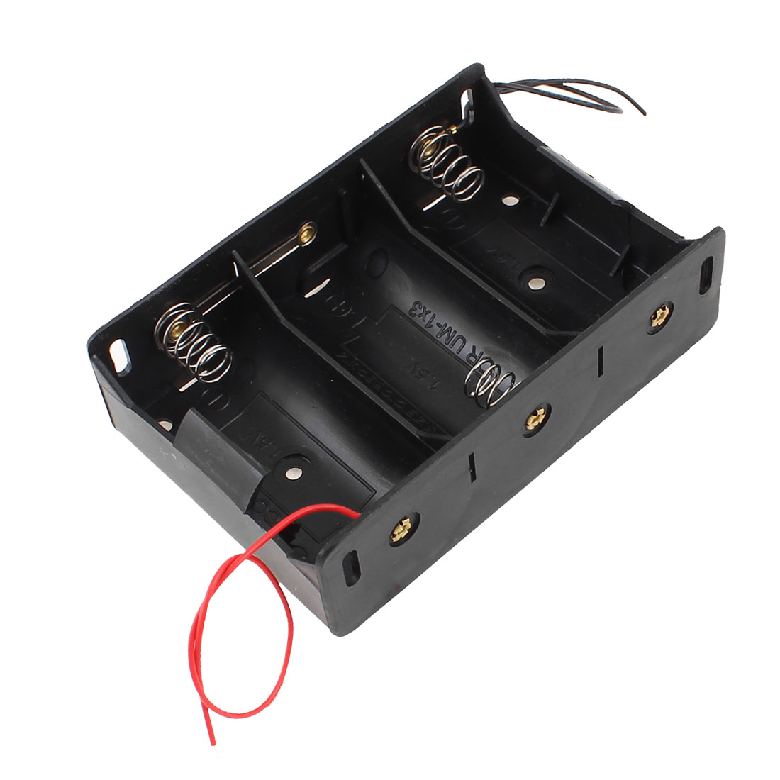 Black Plastic Wired Spring Loaded 3 x 1.5V D Size Cell Batteries Case Box Holder