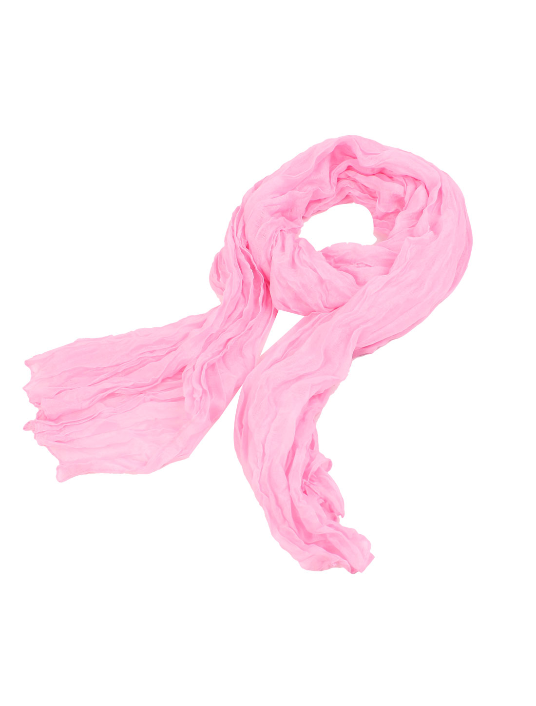 Woman Rectangular Soft Chiffon Warm Shawl Neck Wrap Scarf Pink