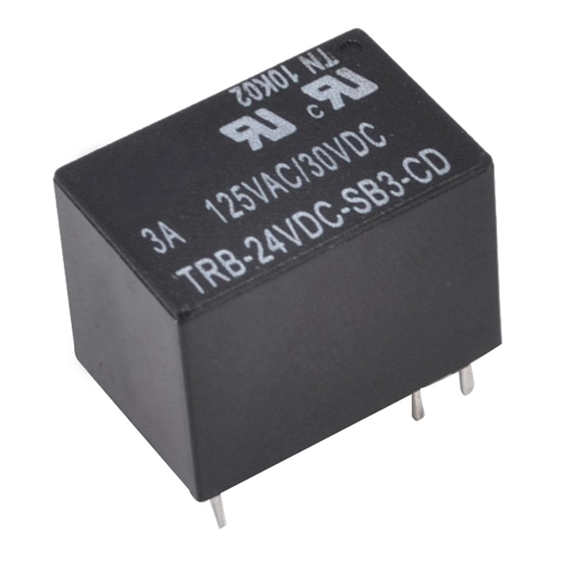 Input DC 24V Output AC125V 3A DC30V SSR PCB Solid State Relay Black