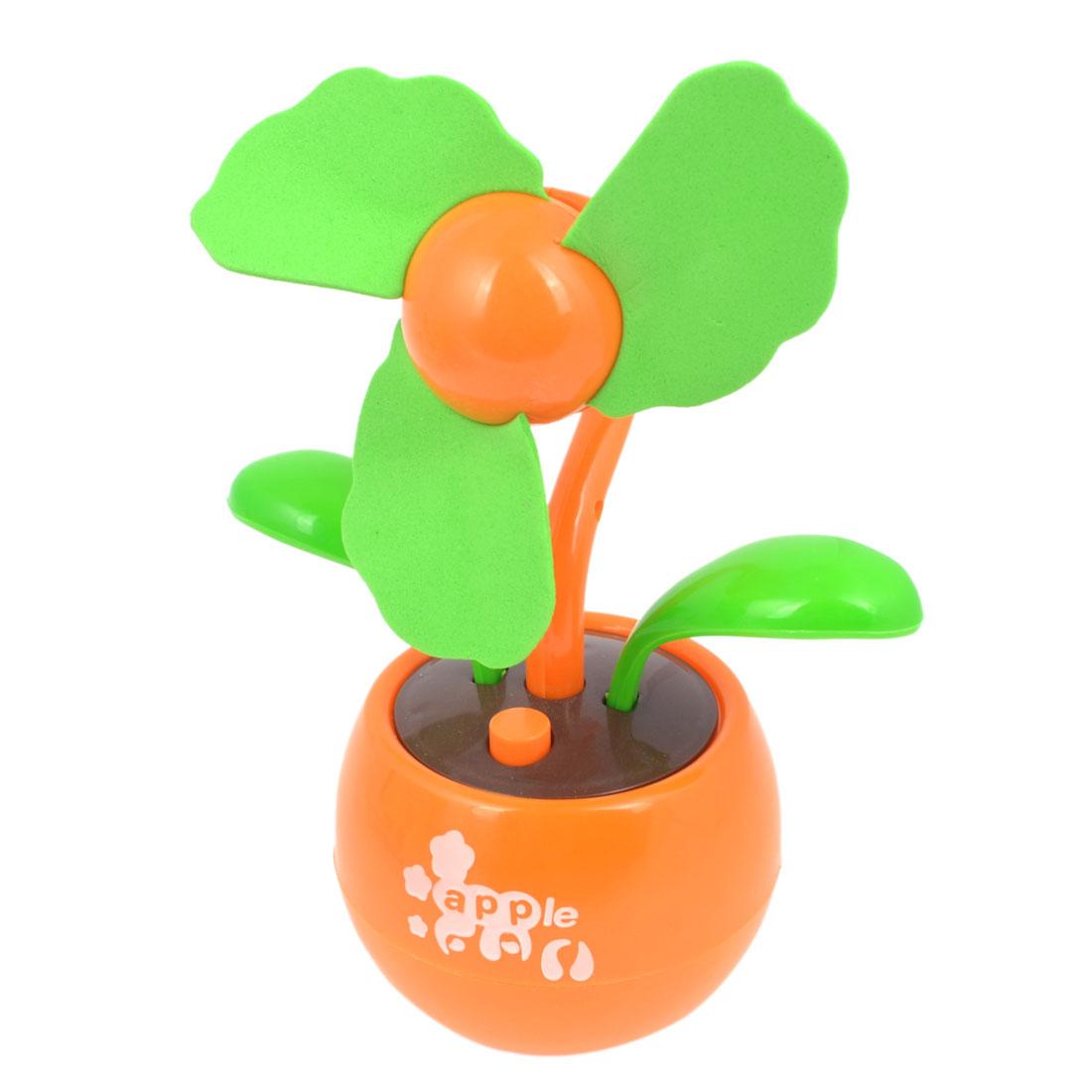 Floral Shape Green Foam Flabellum Apple Design Base USB Mini Fan