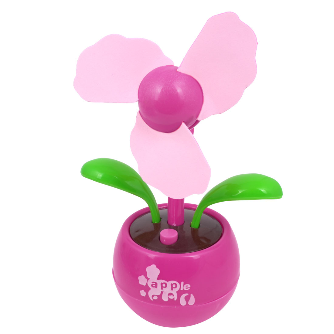 Flower Shape Foam Flabellum Apple Design Plastic Base USB Mini Fan