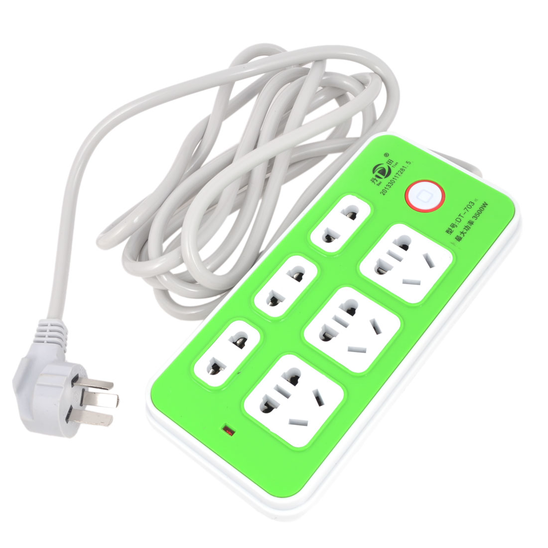AU 3 Terminals Plug 3Way Multifunctional Extension Socket Green 10A/AC250V