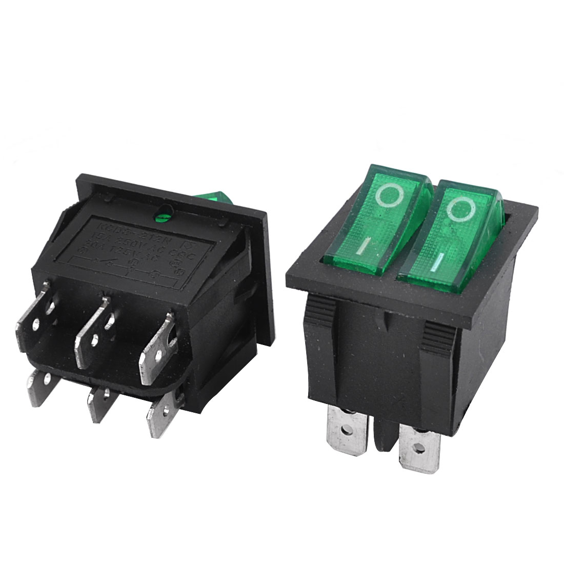 Green Light SPST 2 Snap in Rocker Switch AC 250V/15A 125V/20A 2PCS