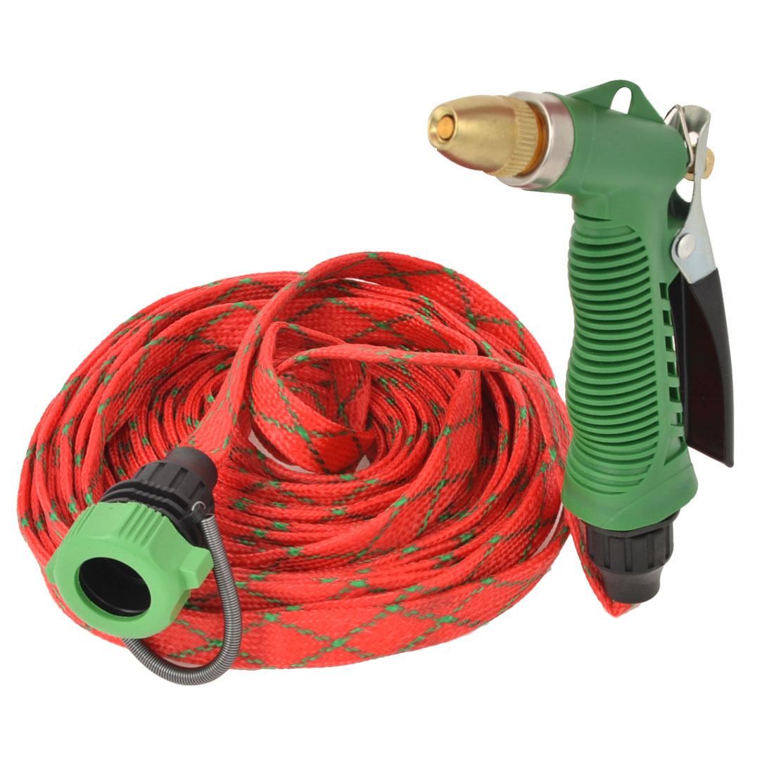 Garden Irrigation 9.5M Long Red Flat Hose Water Gun Sprayer