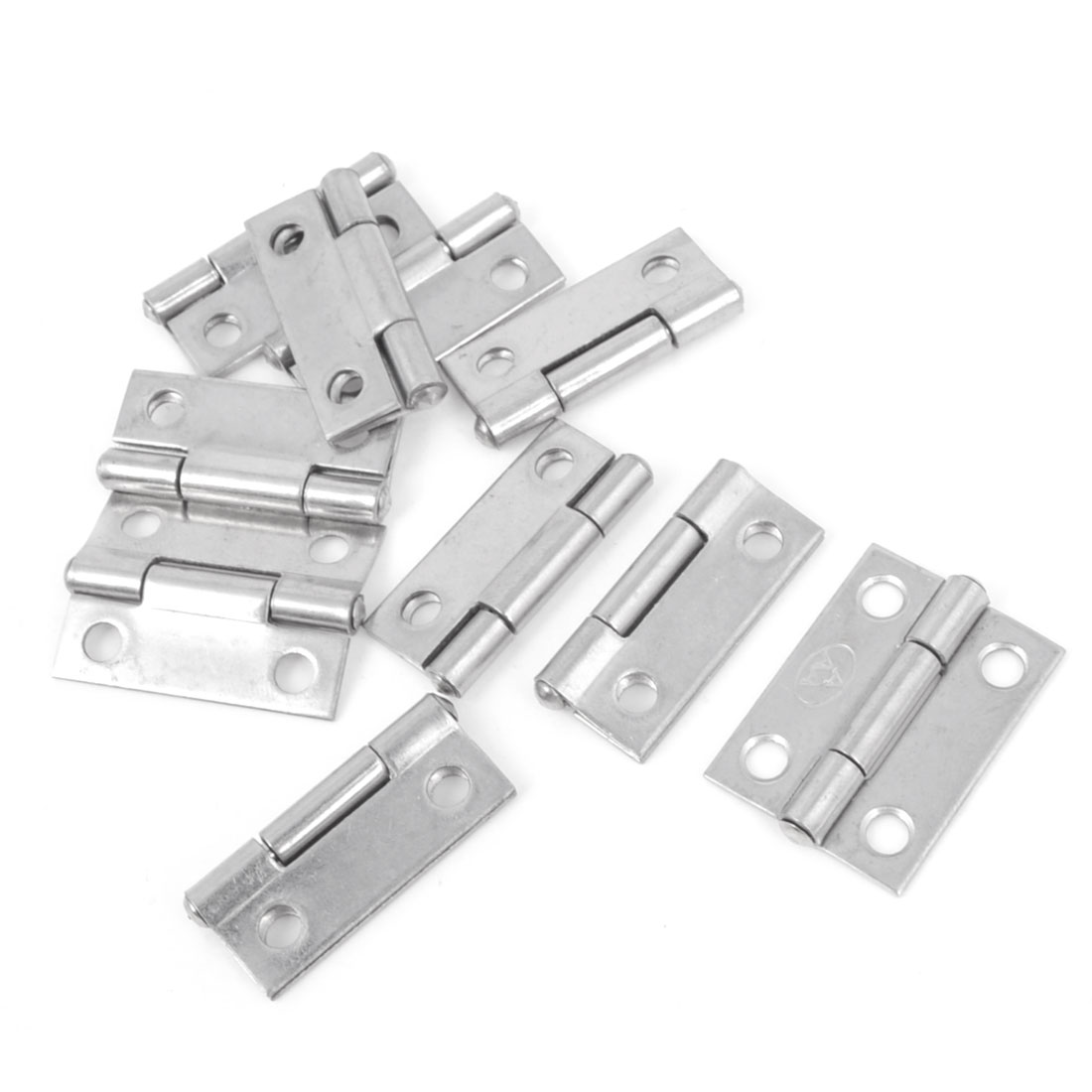 10 Pcs Silver Tone Stainless Steel Cabinet Door Butt Hinges 1""