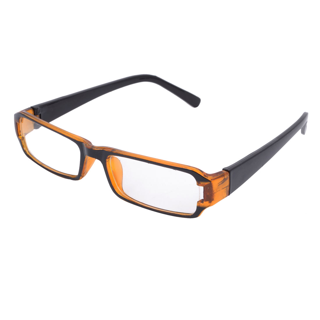 Brown Plastic Slim Temples Single Bridge Rectangular Clear Lens Plain Glasses for Lady