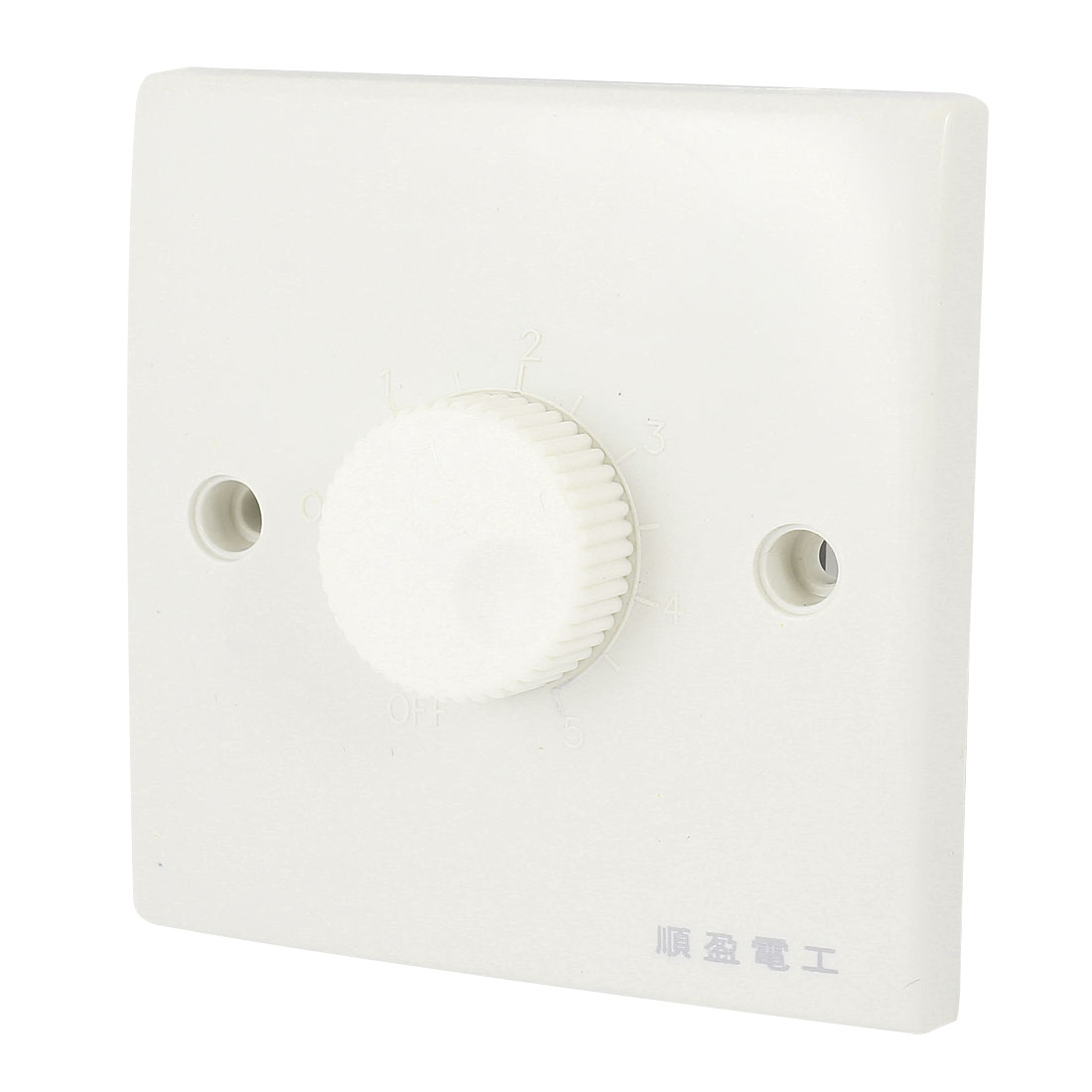 Wall Mounting Plastic Shell 5 Gear Rotatable Knob Dimmer Switch White AC 200V-250V