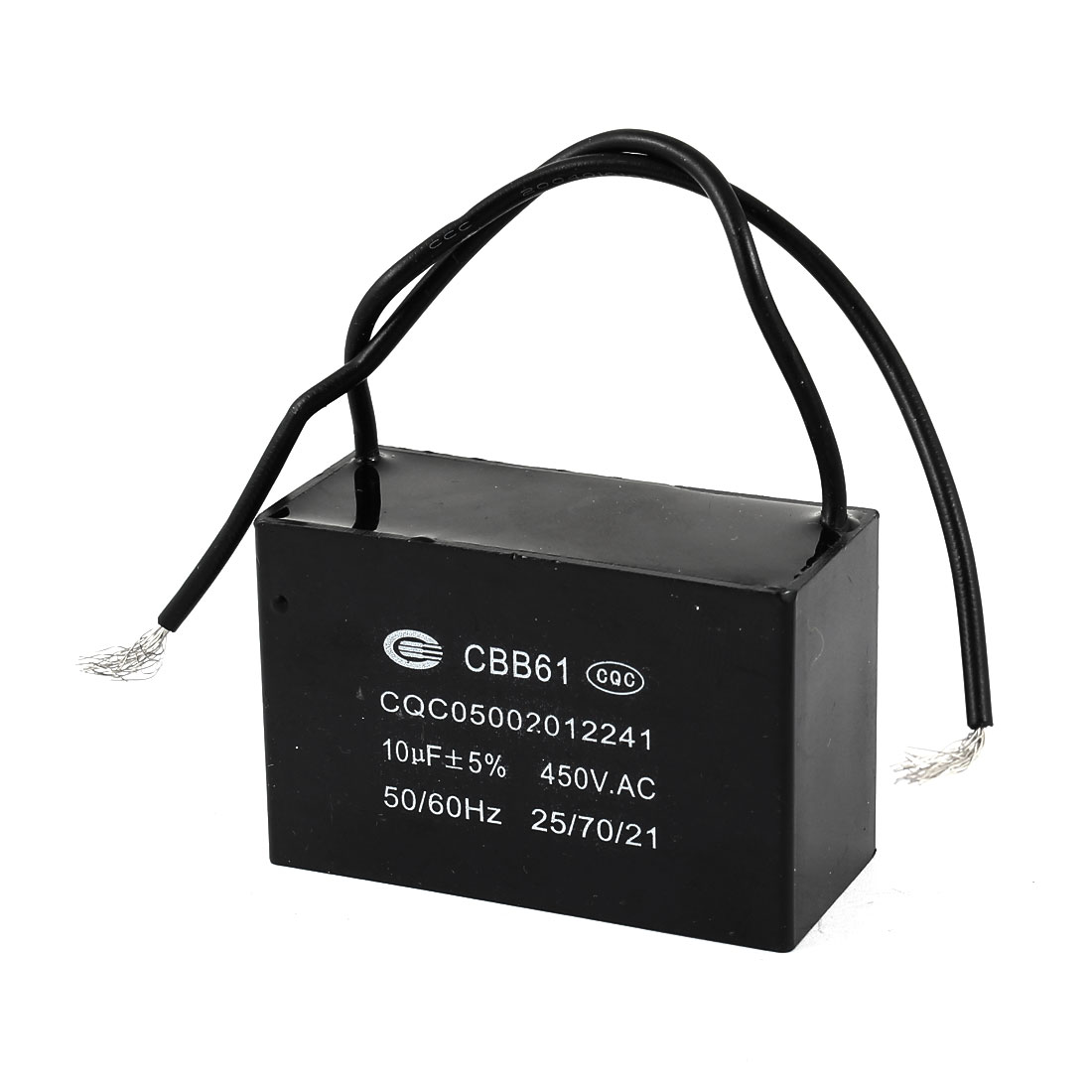 Black Housing CBB61 10uF 50/60 Hz Wire Motor Run Capacitor AC 450V